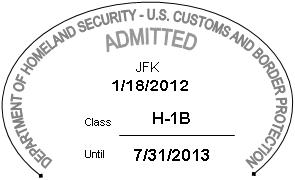 Sample: I-94 Stamp for H-1B entry